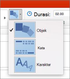 Memperlihatkan opsi efek transisi yang berubah di PowerPoint 2016 untuk Mac
