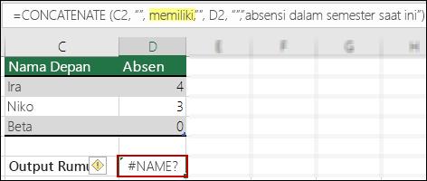 Kesalahan #NAME? akibat tanda kutip ganda di nilai teks yang hilang