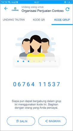 Cuplikan layar halaman kode grup di Kaizala