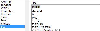 Dialog Format sel, perintah Kustom, tipe [h]:mm