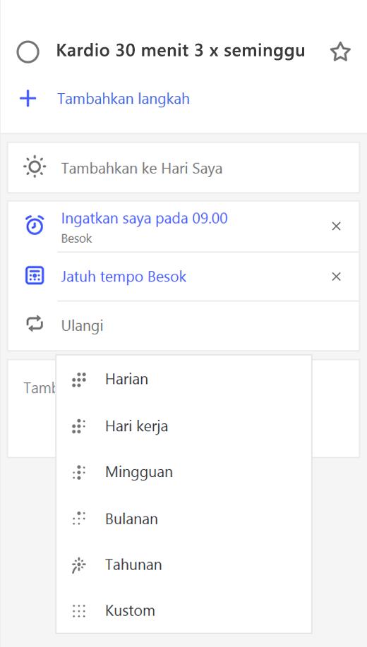 Cuplikan layar memperlihatkan tampilan detail dengan ulangi dipilih