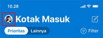 Gambar daftar pesan di Outlook untuk iOS.