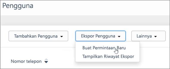 Cuplikan layar: Buat permintaan baru untuk mengekspor Kaizala pengguna