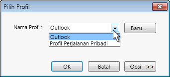 Kotak dialog pilihan profil Outlook
