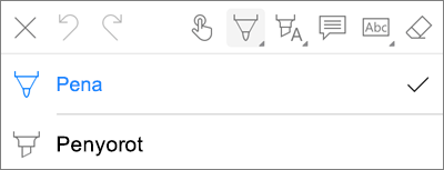 OneDrive untuk iOS PDF Markup Menu pena