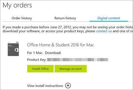 Memperlihatkan pemesanan digital Office, kunci produknya, dan tombol untuk menginstal Office serta mengelola akun Microsoft Anda.