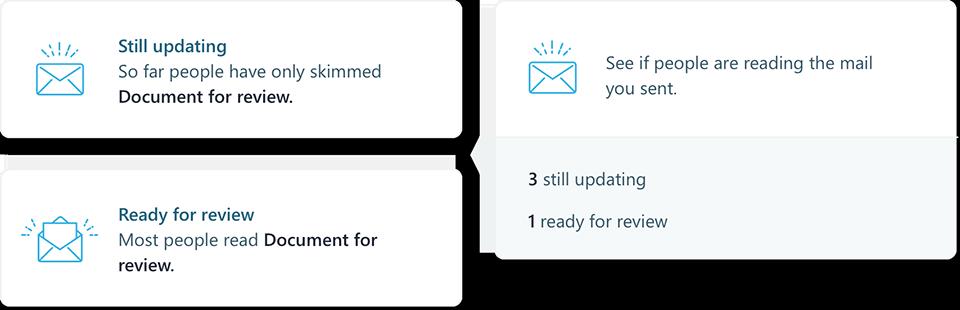 Cuplikan layar MyAnalytics email Statistik
