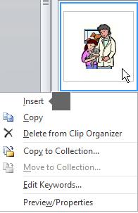 Untuk menyisipkan gambar, klik kanan gambar mini dan pilih Sisipkan.