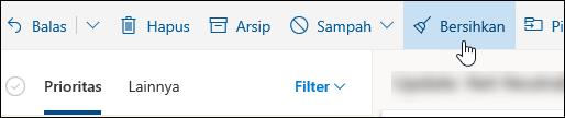 Cuplikan layar tombol Bersihkan