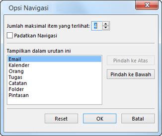 Kotak dialog Opsi Navigasi