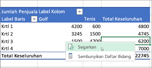 Merefresh PivotTable