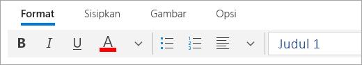 Cuplikan layar Format tab