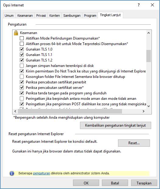 Opsi keamanan Internet Explorer