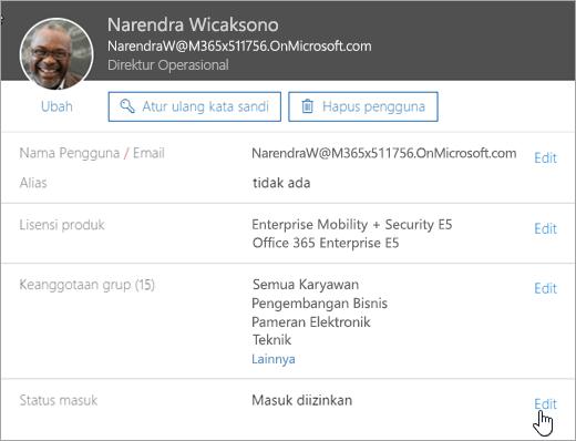 Cuplikan layar status masuk pengguna di Office 365