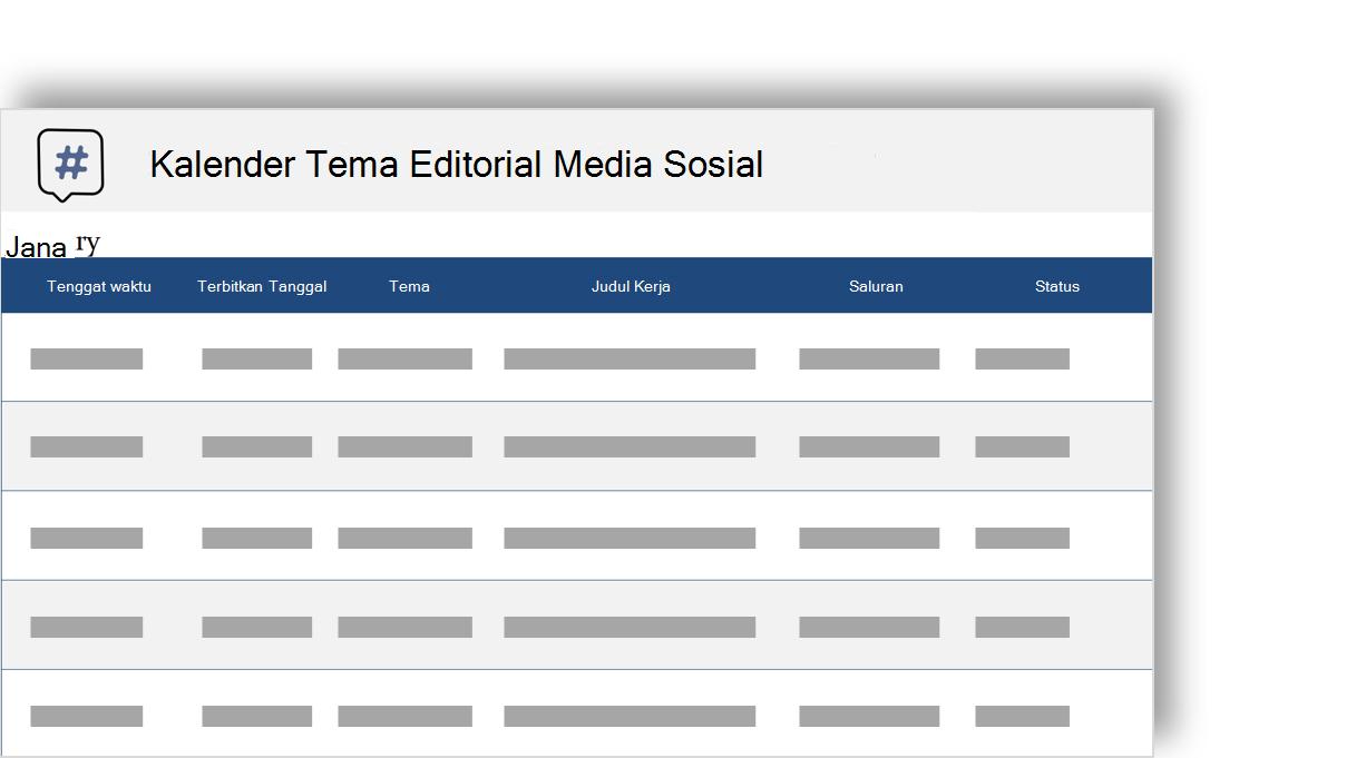 gambar konseptual kalender editorial tema media sosial