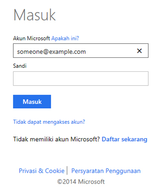 Kotak dialog masuk OneDrive