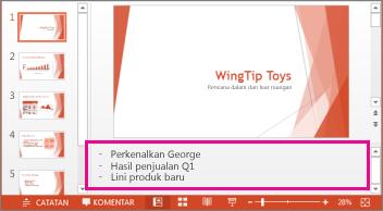 Catatan Pembicara muncul di bagian bawah setiap slide