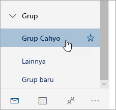 Cuplikan layar grup di panel navigasi