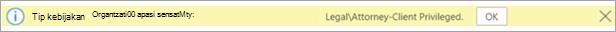 Cuplikan layar Tips kebijakan untuk label sensitivitas yang diterapkan secara otomatis