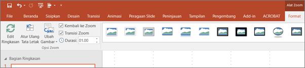 Memperlihatkan alat Zoom di tab Format di pita di PowerPoint.