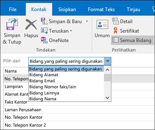 Pilih semua bidang untuk memasukkan informasi dalam format tabel.