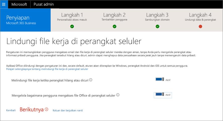 Cuplikan layar halaman proteksi file kerja di perangkat seluler Anda