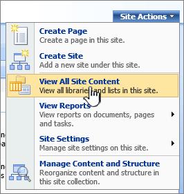 Menu tindakan situs dengan Tampilkan semua konten situs disorot