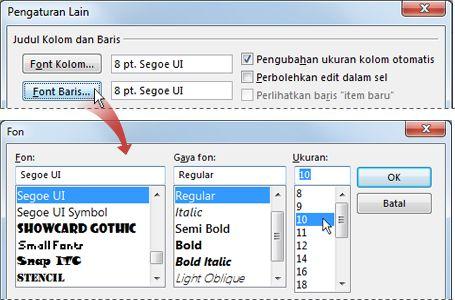 Ubah font baris daftar pesan ke ukuran font lebih besar