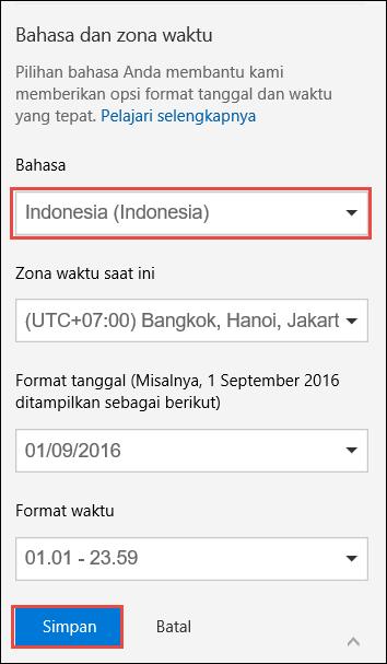 Cuplikan layar memperlihatkan pengaturan preferensi bahasa