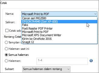 Dalam kotak Nama, klik nama printer