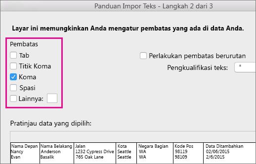 Langkah 2 dari Panduan Impor Teks