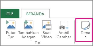 Tombol Tema pada tab Beranda Power Map