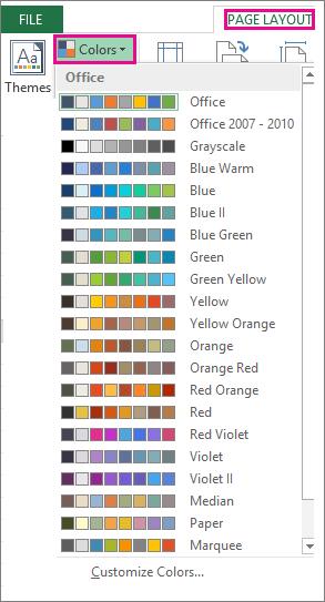 Galeri Warna Tema terbuka melalui tombol Warna di tab Tata Letak Halaman