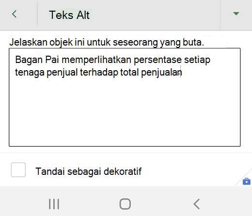 Kotak dialog teks Alt di Excel untuk Android.
