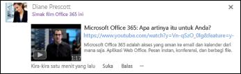 Video YouTube disematkan dalam postingan umpan berita