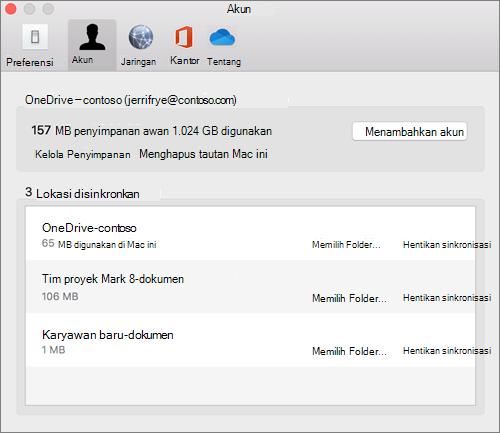 Cuplikan layar tab akun pada klien sinkronisasi OneDrive untuk Mac