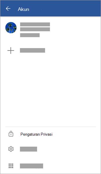 Cuplikan layar menu akun