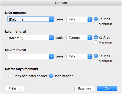 Memperlihatkan opsi yang bisa Anda atur dalam kotak dialog Urutkan.