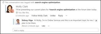 Pembaruan umpan berita saat seseorang menggunakan tag yang Anda ikuti dalam sebuah postingan.