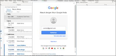 Kotak Masuk di latar belakang dan kotak dialog Masuk Google di latar depan