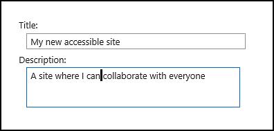 Kotak dialog judul situs baru SharePoint Online