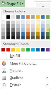 Menu opsi warna Isian Bentuk