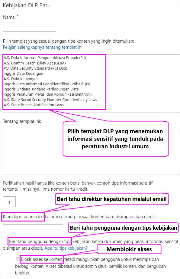 Halaman kebijakan DLP baru
