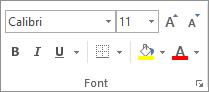 Opsi dalam grup Font