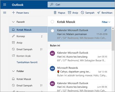 Cuplikan layar kotak masuk dengan Kotak Masuk Prioritas dinonaktifkan