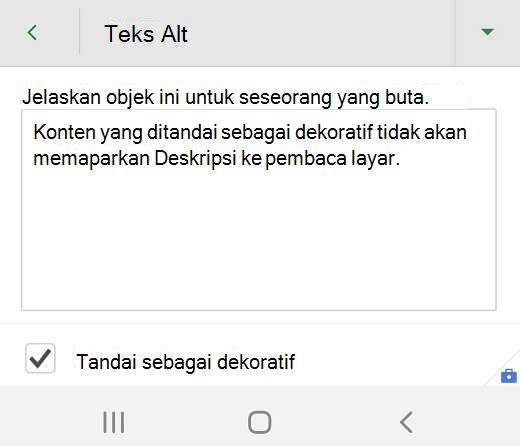 Kotak dialog teks Alt untuk grafik dekoratif di Excel untuk Android