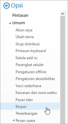 Cuplikan layar menu opsi dengan ekspor dipilih