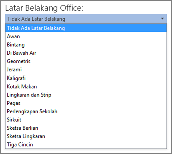 Daftar Latar Belakang Office di program Office 2013