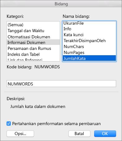 Kotak dialog Bidang dengan Informasi Dokumen dan NumWords dipilih.