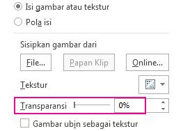 Slide transparansi di panel Format Gambar